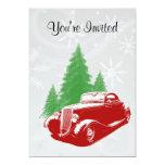 Navidad del coche de carreras invitacion personalizada