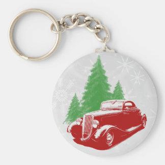 Navidad del coche de carreras llavero redondo tipo pin