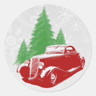 Navidad del coche de carreras pegatina redonda