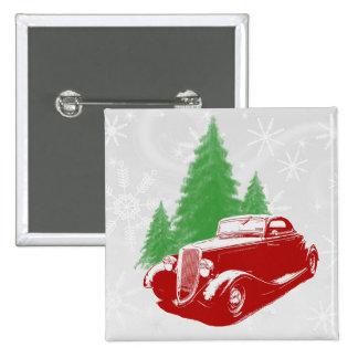 Navidad del coche de carreras pin cuadrada 5 cm