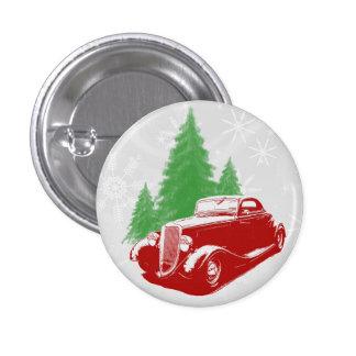 Navidad del coche de carreras pin redondo 2,5 cm