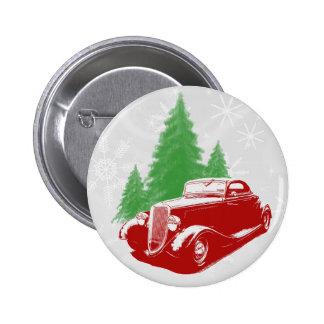 Navidad del coche de carreras pin redondo 5 cm