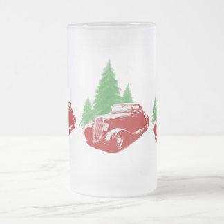 Navidad del coche de carreras taza de cristal