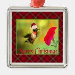 Navidad del colibrí del gorra de Santa Ornamento De Navidad