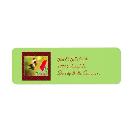 Navidad del colibrí del gorra de Santa Etiqueta De Remite