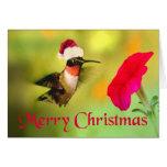 Navidad del colibrí del gorra de Santa Tarjeta
