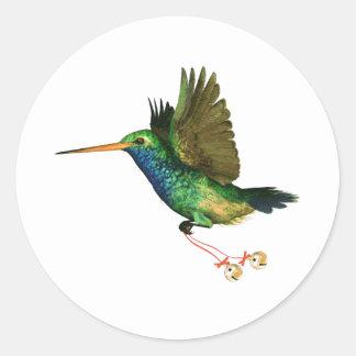 Navidad del colibrí etiquetas redondas