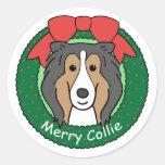 Navidad del collie etiquetas redondas