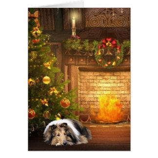 Navidad del collie tarjeta