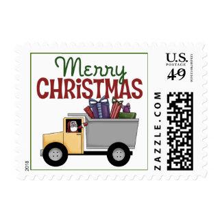 Navidad del conductor de camión timbres postales