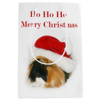 Navidad del conejillo de Indias Bolsa De Regalo Mediana