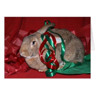 Navidad del conejo tarjeta de felicitación