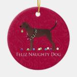 Navidad del Coonhound de Redbone Adorno Navideño Redondo De Cerámica