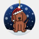 Navidad del Coonhound de Redbone del dibujo Adorno Redondo De Cerámica