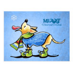 Navidad del copo de nieve de la chihuahua de encar postales