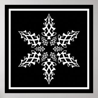 Navidad del copo de nieve de la ilusión óptica ele posters