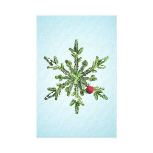 Navidad del copo de nieve del pino Nevado Impresión En Lona