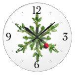 Navidad del copo de nieve del pino Nevado Relojes De Pared