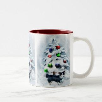 Navidad del Corgi Galés de la rebeca Tazas De Café