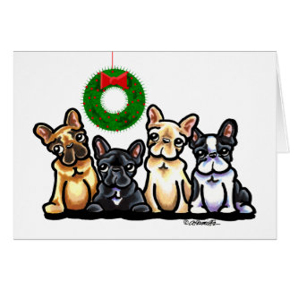 Navidad del cuarteto del dogo francés tarjeta de felicitación