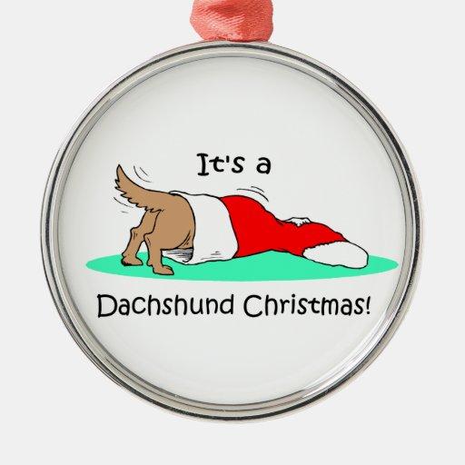 Navidad del Dachshund Adorno Redondo Plateado