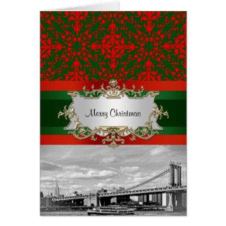 Navidad del damasco del puente de Manhattan del ho Tarjeta