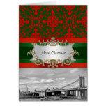Navidad del damasco del puente de Manhattan del Tarjeta De Felicitación