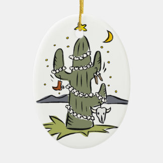 Navidad del desierto del país adorno navideño ovalado de cerámica