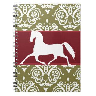 Navidad del día de fiesta del caballo que trota libro de apuntes