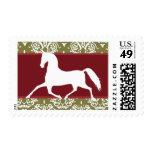Navidad del día de fiesta del caballo que trota timbres postales
