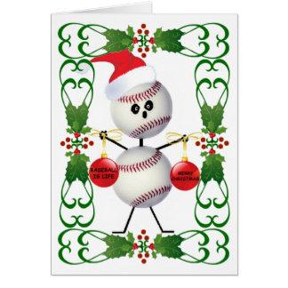 Navidad del dibujo animado del béisbol tarjeta de felicitación