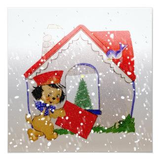 Navidad del dibujo animado del perrito del vintage comunicados personales
