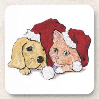 Navidad del dibujo animado, gatito lindo del posavasos de bebida