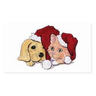 Navidad del dibujo animado, gatito lindo del tarjetas de visita
