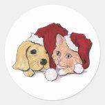 Navidad del dibujo animado, gorras lindos de Santa Etiquetas Redondas