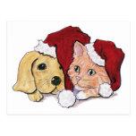 Navidad del dibujo animado, gorras lindos de Santa Tarjeta Postal
