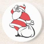 Navidad del dibujo animado, Papá Noel alegre, saco Posavasos Para Bebidas