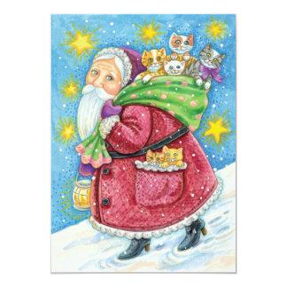 Navidad del dibujo animado, Papá Noel con los Invitación 12,7 X 17,8 Cm