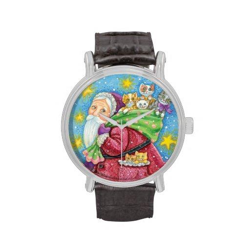 Navidad del dibujo animado, Papá Noel con los Relojes De Pulsera