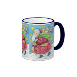 Navidad del dibujo animado, Papá Noel con los Tazas De Café
