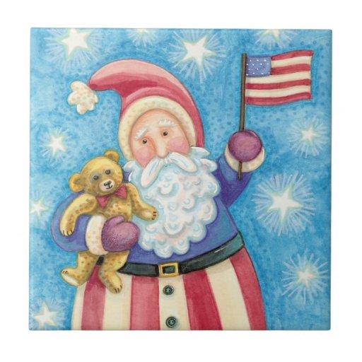 Navidad del dibujo animado, Papá Noel patriótico Teja