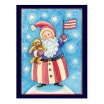 Navidad del dibujo animado, Papá Noel patriótico c Tarjetas Postales