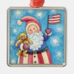 Navidad del dibujo animado, Papá Noel patriótico Adorno Cuadrado Plateado
