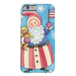 Navidad del dibujo animado, Papá Noel patriótico Funda Barely There iPhone 6
