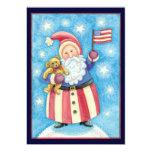Navidad del dibujo animado, Papá Noel patriótico Invitación 12,7 X 17,8 Cm