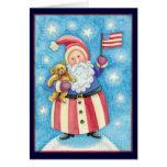 Navidad del dibujo animado, Papá Noel patriótico Tarjeta De Felicitación