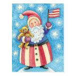 Navidad del dibujo animado, Papá Noel patriótico Postal