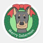 Navidad del Doberman Pegatina Redonda
