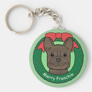 Navidad del dogo francés llavero redondo tipo pin