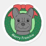 Navidad del dogo francés pegatinas redondas